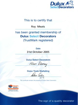 Roy's Select Decorator certification 2005
